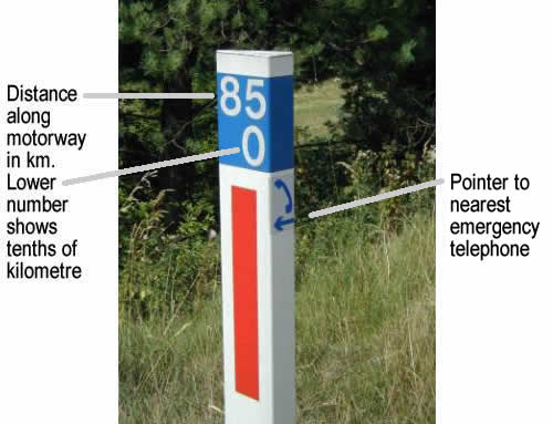 emergency marker post annotated