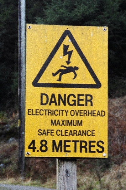 Forest commission overhead cable warning sign