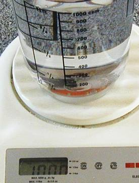 A litre of water weighs 1 kg