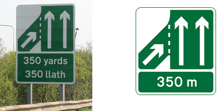 Slip road approach information signs
