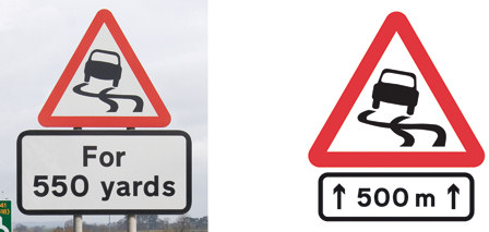 Slippery roads warning signs