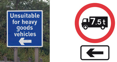 HGV prohibition signs