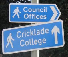 Blue pedestrain information signs